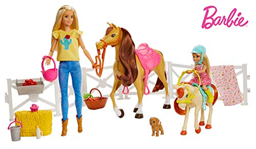 Mattel Muñecas Barbie y Chelsea con caballos y accesorios FHX15, multicolor