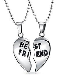 Bling Jewelry BFF Split Heart Enamel Best Friend Pendant Stainless Steel Necklaces Set 18 Inches