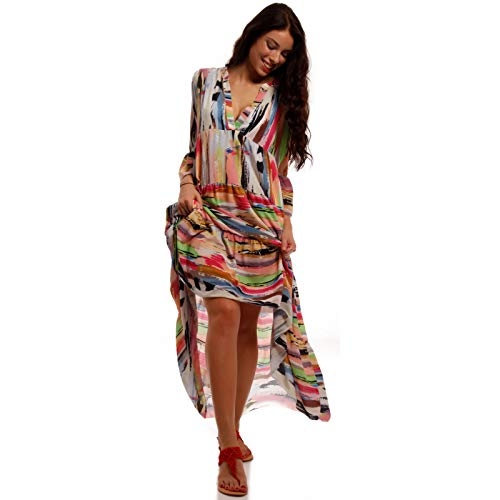 YC Fashion & Style Damen Boho Maxikleid Strandkleid Freizeit Sommer oder Herbstkleid Kleid Hippie Kleid Plus Size Made in Italy (One Size, Multicolor) -