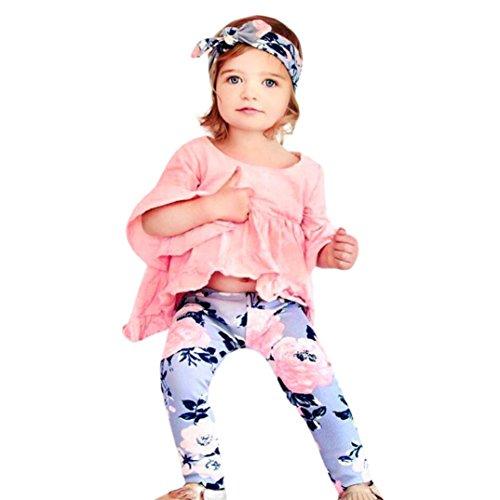 Babykleidung URSING Neugeboren Säugling Baby Schätzchen Prinzessin Mädchen Schick Solid Fold T-Shirt Tops + Floral Hosen Outfit Kleider Set Geschenk (Rosa, 18M) -