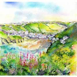 Port Isaac Harbour Greetings Card By Sheila Gill
