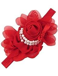 Style Nuvo - Serre-Tête /Bandeau en Satin avec Noeud Roses en Mousseline et Perles pour Filles