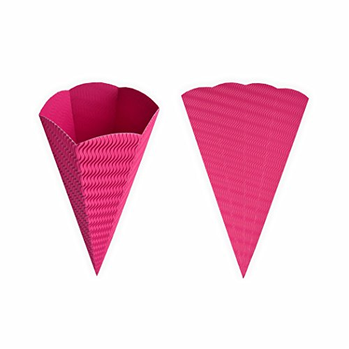 Creleo 792432 Geschwister Schultüte 1 Stück pink aus 3D Wellpappe 41cm - Zuckertüte als Rohling zum basteln, bemalen und bekleben pink
