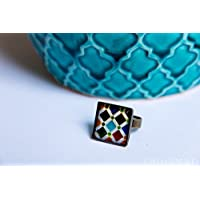 Bague avec photographie mosaïques de l'Alhambra - Mosaïque multicolore vintage - Bijoux en résine écologique - Idée cadeau