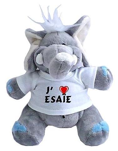 Peluche éléphant avec un T-shirt: J'aime Esaïe (Noms/Prénoms)