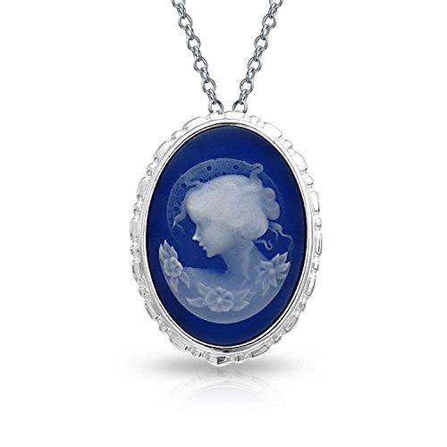 Bling Jewelry Viktorianischen Stil Damen Portrait Blau Weiß Oval Geschnitzt Cameo Brosche Pin Oder Anhänger Mit Kette Sterling Silber (Cameo-pins Und Broschen)