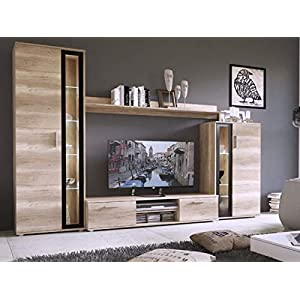 KRYSPOL Wohnwand Bentley Anbauwand, TV-Lowboard, Hängeschränke, Wandboard, Fernsehschrank, Wohnzimmerschran (ohne LED Beleuchtung)