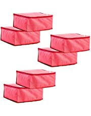 Amazon Brand - Solimo 6 Piece Non Woven Fabric Saree Cover Set, Large, Pink