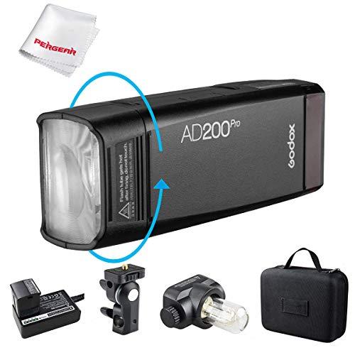 Godox AD200 Pro 200Ws 2,4-G-Blitz, 1/8000 HSS, 500 volle Blitzleistung, 0,01-2,1 s Recycling, 2900 mAh-Akku, nackte Glühlampe/Speedlite-Fresnel-Blitzkopf