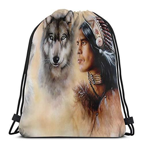 Bag hat Native American 3D Print Drawstring Backpack Rucksack Shoulder Gym for Adult 16.9