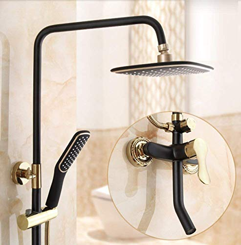 Regen Herbst Duschkopf und Handheld Set Badezimmer Zubehör Luxus Regen Mixer Dusche Combo Set an der Wand befestigte Ganzkörperabdeckung,A ()
