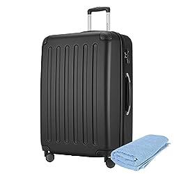 Hauptstadtkoffer - Spree Hartschalen-Koffer-XL Koffer Trolley Rollkoffer Reisekoffer Erweiterbar, 4 Rollen, TSA, 75 cm, 119 Liter, Schwarz +Badehandtuch