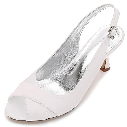 Elegant high shoes Scarpe da Sposa da Donna P17061-16 Satin Peep Toe da  Sposa Damigella D Onore Moda Jane Style Tacco Basso Party Court Shoes 3-8 7d1ec706841