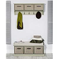 Tetbury sage green hanging shelf and bench with cushion and storage baskets. Quality hallway furniture