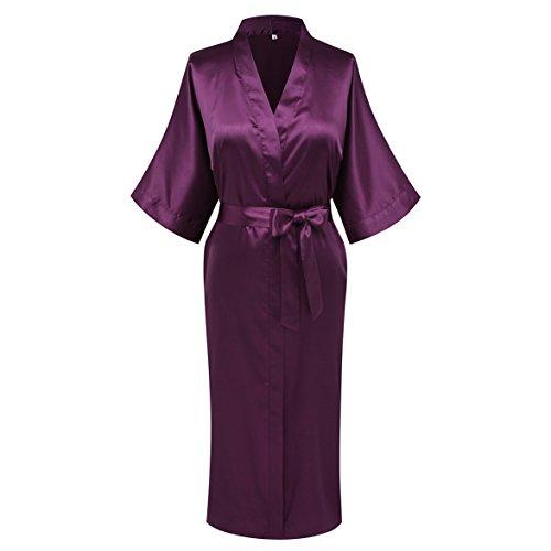 Funray Womens Kimono Robes Pure Color Long Style Nightwear Bathrobes Sleepwear  Robes 35a28a73c