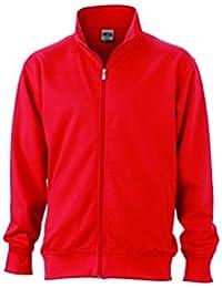 James & Nicholson Hombre Workwear Chaqueta Sudadera N9294, hombre, Workwear Sweat Jacket, rojo, XXXXL