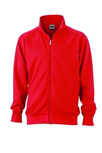 James & Nicholson Herren Workwear Sweat Jacket Sweatshirt Rot (Red) XXX-Large
