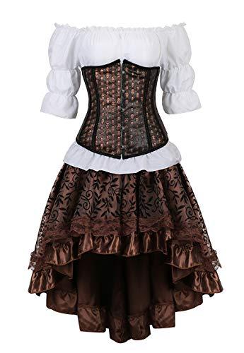 Grebrafan Steampunk Unterbrust Corsage Kostüm mit asymmetrischer Spitzenrock und Bluse - für Karneval Fasching Halloween (EUR(32-34) S, - Sexy Weiße Für Erwachsene Body Kostüm