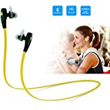Hapurs Qy7 Mini Lightweight Wireless Stereo Sports / running & Gym / exercise Bluetooth 4.0 Earbuds Headphones Headsets W/microphone, In-ear/ Ear-canal-fit Design for Iphone 6 6Plus 5s 5c, Ipad 2 3 4 New Ipad Mini Ipad Air, Ipod, Android, Samsung Galaxy, Smart Phones Bluetooth Devices (Black/Yellow)