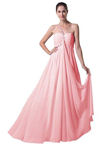 Dresstells, Robe pour soirée formelle et de Demoiselle d'Honneur Mousseline, Épaule asymétrique Rose