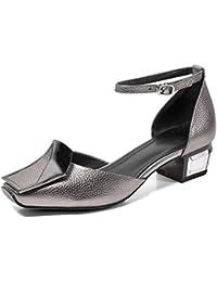 ZCJB Sandalias Baotou Mujer Verano Cuero Primavera Boca Poco Profunda Zapatos De Mujer Salvajes ( Color : Gun...
