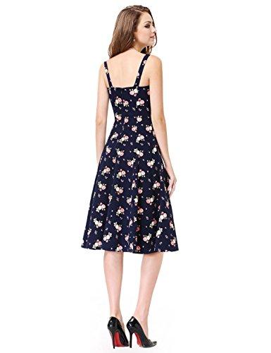 Alisapan Robe Rétro Courte Floral du Style Vintage Rockabilly Chic AS05456 Bleu Marine