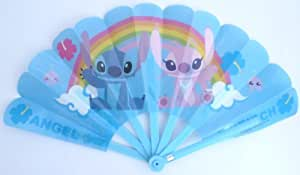 Disney Lilo and Stitch Plastic Chinese Folding Fans (Blue 001) - gifts for Summer, Spring, Outdoor Living, Camping, Travels, Picnic, Beach, Tent Fan, Garden.