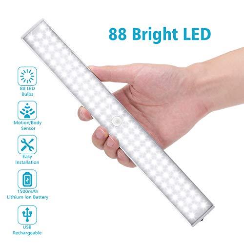 Elfeland LED Nachtlicht mit Bewegungsmelder Sensor Licht 88 LED Schrankbeleuchtung Schrankleuchte LED Lichtleiste Dimmbare USB Unterbauleuchte Magnetstreifen für Schlafzimmer, Küche, Treppe, Gang