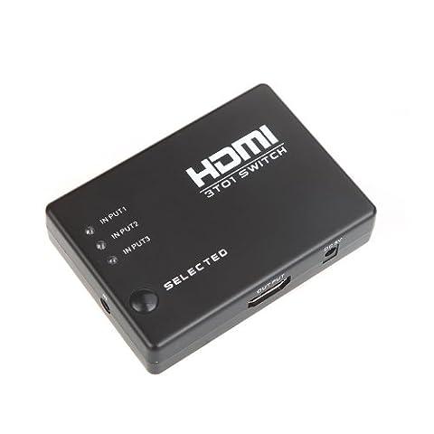 Kingzer Amplificateur 3Port HDMI Switcher Splitter 1080P pour HDTV PS3DVD Télécommande infrarouge automatique