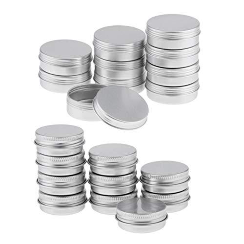 Homyl 20pcs 15/25ml Pot Vide en Aluminium Récipient Cosmétique avec Couvercle pour Échantillon de Crèmes Stockage de Maquillage