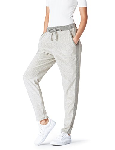 FIND Pantalon de Jogging Velours Femme, Gris (Light Grey/Dark Grey), 38 (Taille Fabricant: Small)