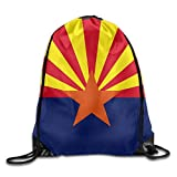 Arizona State Flag Sackpack Drawstring Bags Polyester Backpack Outdoor Sports Gym Bag Yoga Runner Daypack Team Training Gymsack Big Capacity (Twin Sides)