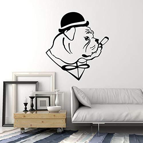 Englisch Bulldogge Hund In Hut Gentleman Zigarre Vinyl Wandtattoo Wohnkultur Wohnzimmer Kunstwand Entfernbare Wandaufkleber 43 * 47 cm