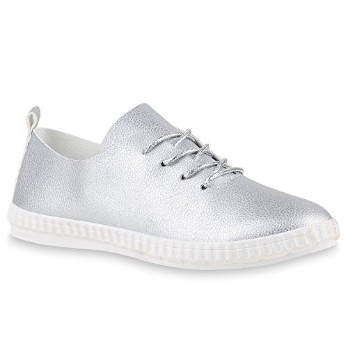 Damen Sneakers Freizeit Schuhe Schnürer Sportschuhe Silber