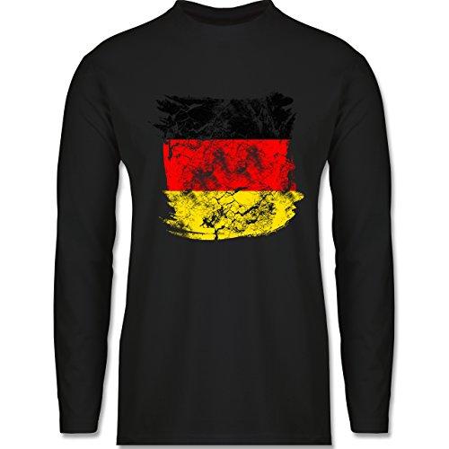 Shirtracer Fußball-WM 2018 - Russland - Deutschlandflagge Pinsel - Herren Langarmshirt Schwarz