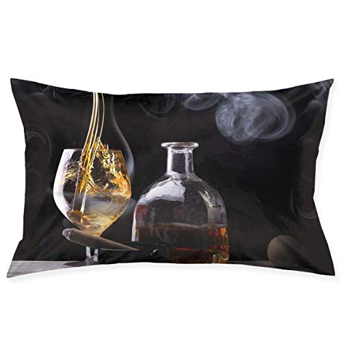Whisky Wine Image Standard Size 20x30 Inches Zippered Pillowcase Pillow Cover ()