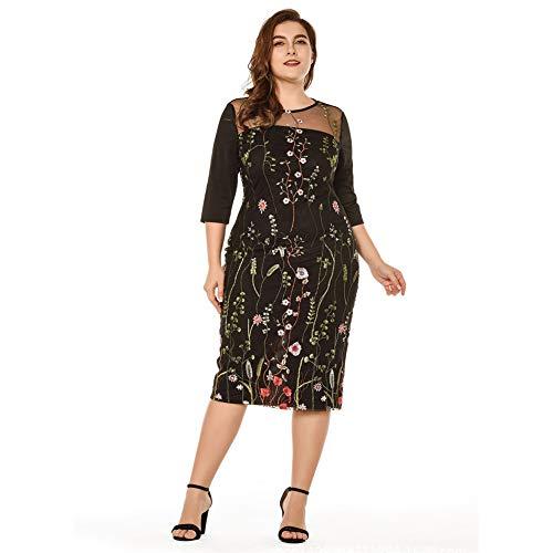 Lover-Beauty Damen Abendkleid Große Größen Partykleid Plus Size Cocktail Kleider Spitze Blumen Partykleid Ausschnitt V-Rücken