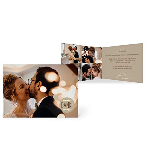greetinks 10 x Dankeskarten zur Hochzeit 'Vintage Kraft' in Beige | Personalisierte Danksagungskarten zum selbst gestalten | 10 Stück Danksagung Karten