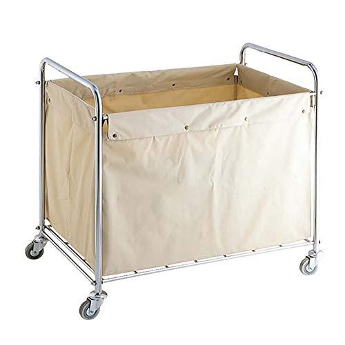 Küchenwagen Heavy-Duty-Wäschesortierer / -organisator Rollwagen mit Gleiträdern - Robuster Stahlrahmen in Silber mit abnehmbaren, wasserfesten Canvas-Stofftaschen, Creme