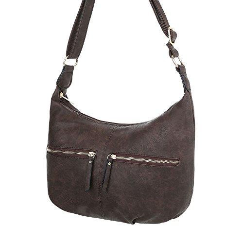 iTal-dEsiGn Damentasche Mittelgroße Schultertasche Handtasche In Used Optik Kunstleder TA-S2503 Dunkelbraun