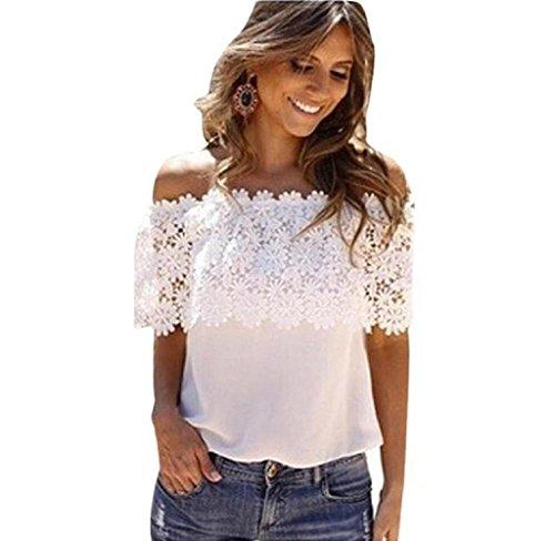Donna bluse e camicie, mecohe donne sexy off spalla casuale camicetta di pizzo in chiffon all'uncinetto maglietta - bianco (xl, bianco)