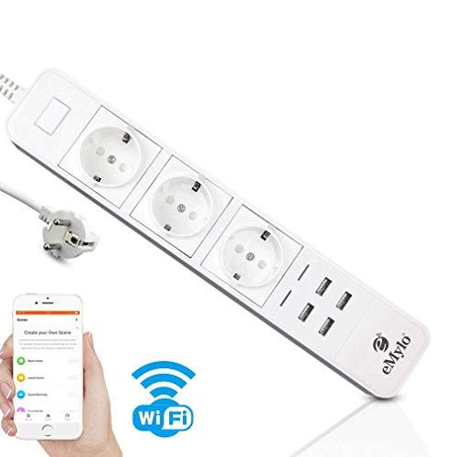 eMylo regleta regleta usb inteligente, surge protector múltiple 3enchufes AC WiFi Power Strip con 4puertos USB, Alexa Echo/Smart Control Voz Home Interruptor temporizador
