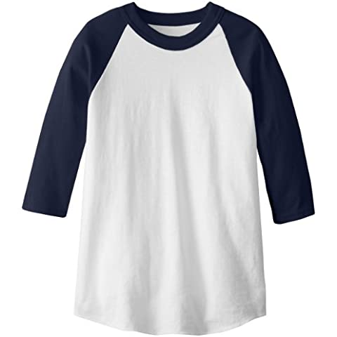 soffe Raglan Béisbol undershirt White/Navy Youth – Medium