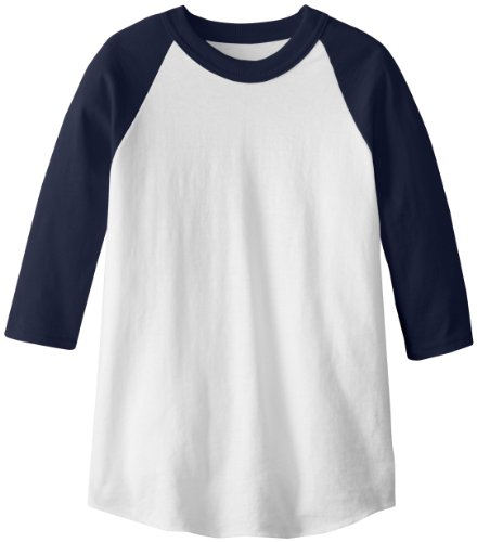 soffe Raglan Baseball Undershirt - Bianco/Blu Navy - Youth Large