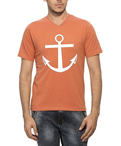 Clifton Mens Printed Half Sleeve V-neck T-shirt -Rust Melange -2XL