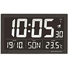 TFA 60.4505 Reloj Digital Mural Negro con termómetro tamaño XXL