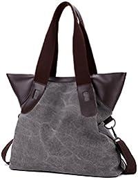 Qflmy Women Weekend Travel Shopping Canvas Big Bag Work Bag Shoulder Bag Handbag
