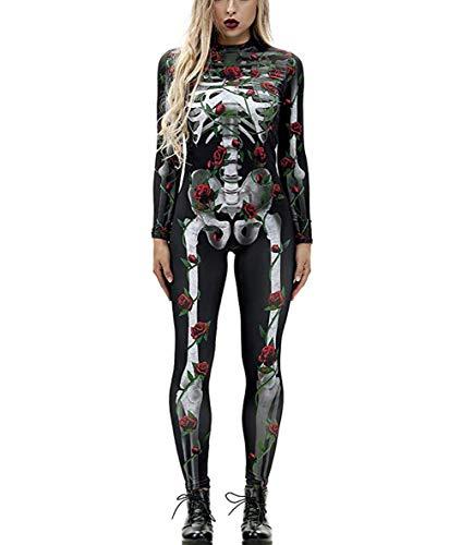Knochen Kostüm Lustig - Idgreatim Lustige Frauen Halloween Cosplay Kostüm Reißverschluss Langarm Knochen Rose Catsuit Overall Body Kostüm Kostüm S