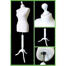 The Shopfitting Shop Mannequin/buste de couture sur trépied Femme Blanc Taille 38-40