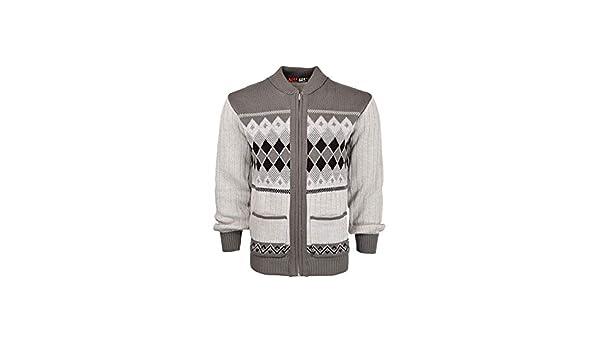 New Mens Argyle Diamond Print Gents Grandad Sweater Zipper Front Pocket Cardigan